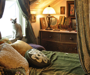 bedroom, cat, and interior image