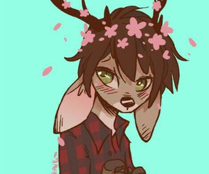 antlers, flowers, and furry image