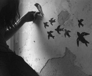 art, birds, and blackandwhite image