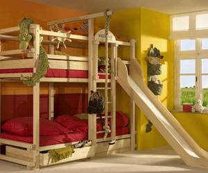 bed, bunk bed, and child image