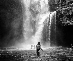 girl, waterfall, and summer image