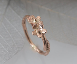 etsy, rose gold ring, and gold flower ring image