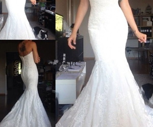 strapless, mermaid wedding dress, and fashion wedding dress image