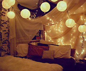 bed, bedroom, and chinese lantern image
