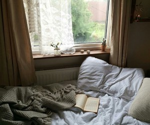 bed, book, and room image