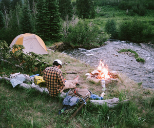 35mm, backpacking, and campfire image