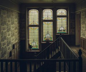 interiors, stained glass, and vintage image