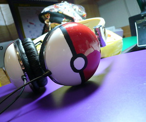 pokemon, headphones, and pokeball image