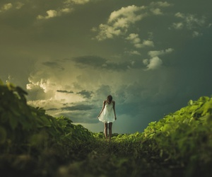 girl, alone, and green image