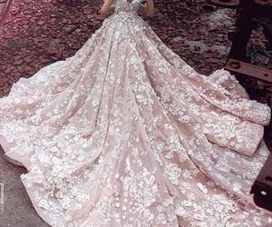 dress, wedding, and pink image