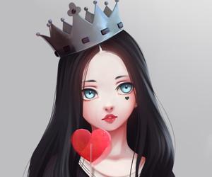 anime girl, crown, and drawing image