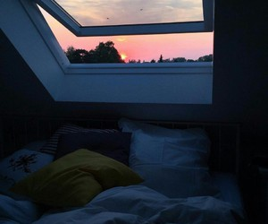 window, bed, and sunset image