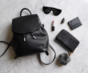 black, bag, and sunglasses image