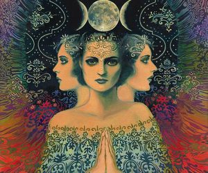 moon, art, and psychedelic image