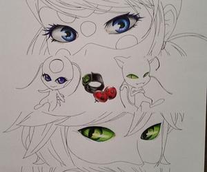 miraculous ladybug, Chat Noir, and tikki image