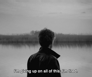 tired, black and white, and sad image