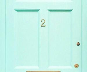 blue, door, and green image