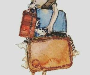 girl, bag, and drawing image