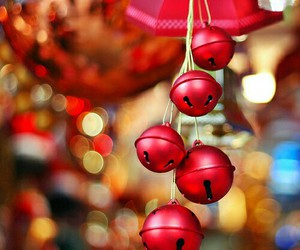 christmas, red, and bell image