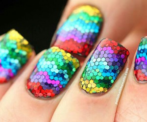 nails, glitter, and rainbow image
