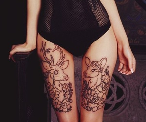 tattoo, deer, and legs image