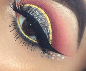 brown eyes, colorful makeup, and eye makeup image