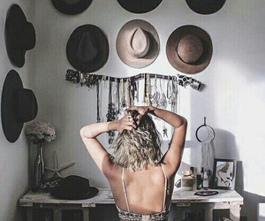 hat, girl, and boho image
