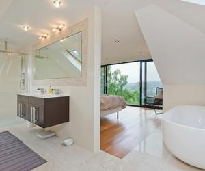 bathroom, bathtub, and bedroom image