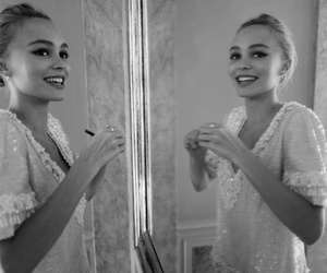 model, lily rose depp, and black and white image