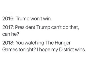 2016, trump, and hunger games image