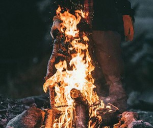 boy, fire, and nature image
