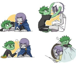 raven, beast boy, and cute image