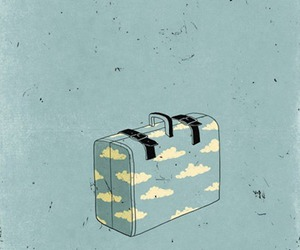 clouds, suitcase, and blue image