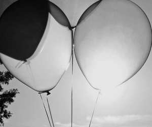 balloons, black and white, and sun image