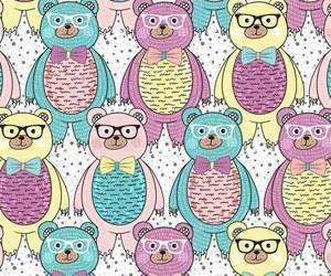 bear, pattern, and pink image