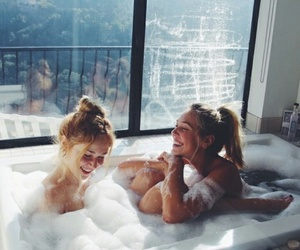 girl, friends, and bath image