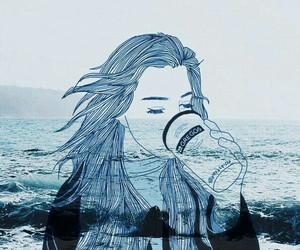 coffee, girl, and sea image