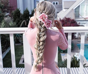 hair, pink, and dress image