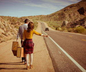 hitchhiking, travelling, and landscape image