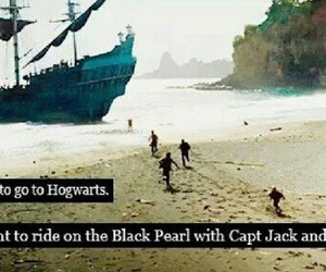 pirates of the caribbean, captain jack sparrow, and hogwarts image