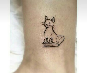 cat, tatuaje, and gato image