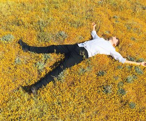 boy, flowers, and yellow image