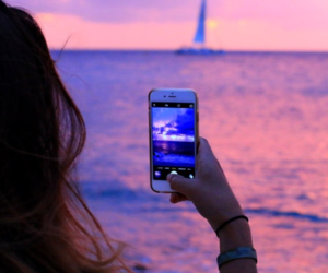 girl, iphone, and sunset image
