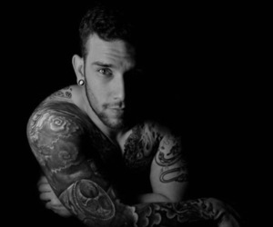 black and white, body art, and ink image