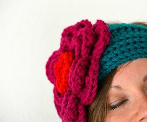crocheting, flower headband, and knitting image