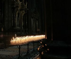 candle, dark, and church image