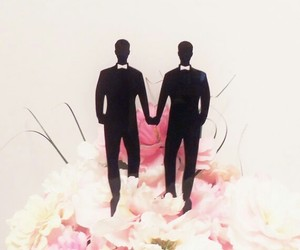 cake topper, gay, and grooms image