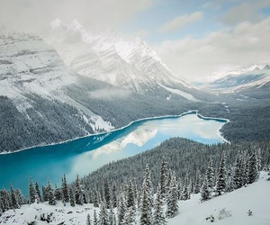 snow, lake, and mountains image