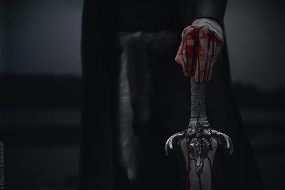 blood, sword, and dark image