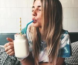 girl, drink, and food image